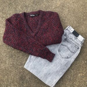 Black, grey & red, salt/pepper cable knit sweater